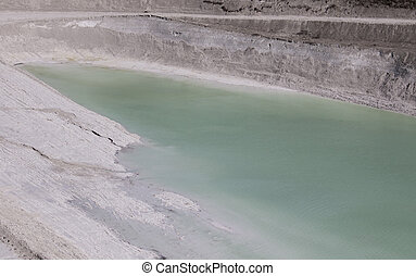 Shallow lake at the bottom of a mine