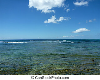 Shallow ocean waters with coral and small waves breaking in the distance of Waikiki area looking into the pacific ocean.
