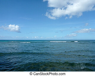 Shallow ocean waters with small waves breaking in the distance