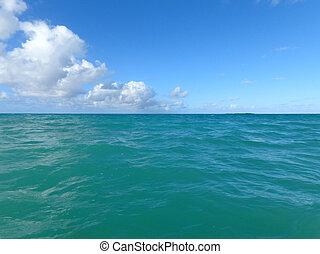 Shallow ripple wavy ocean waters of east side of Oahu