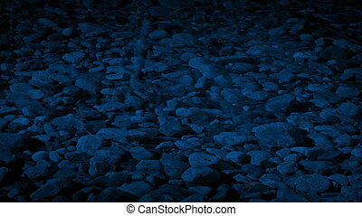 Shallow River Bed Rippling At Night - Rocky river bed...