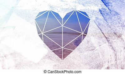 Shallow sea through heart shaped foreground - Animation of a...