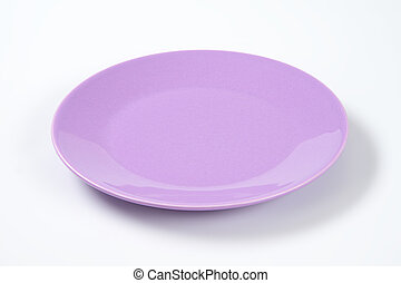 shallow violet plate - empty violet plate on off-white...