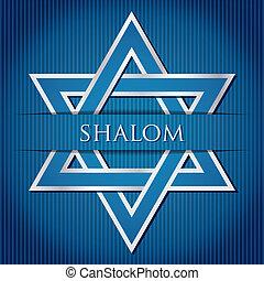 "Shalom - ""Shalom"" blue star of David card in vector format."