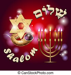 Shalom. Ram horn Shofar and Background from the stars of...