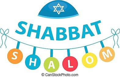 Shalom Shabbat, flat style. Religious Jewish tradition....