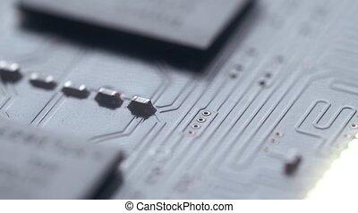 Shalow focus macro shot of electronic circuit board...