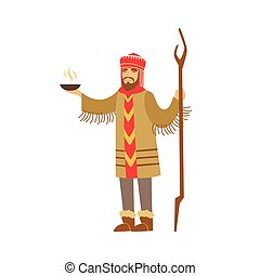 Shaman character in national clothes performing ritual offerings to the gods vector Illustration