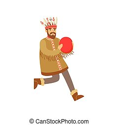 Shaman character in national clothes dancing with a tambourine, authentic ritual vector Illustration