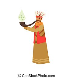 Shaman character smoking big pipe of peace vector Illustration on a white background