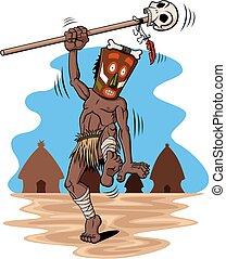 Shaman - Illustration of dancing shaman. Behind him there is...