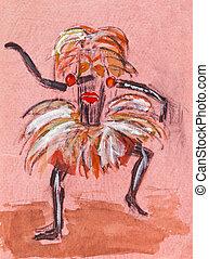 shaman, in, ritueel, masker