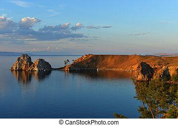 Shaman Rock at Sunset, Island of Olkhon, Lake Baikal, Russia