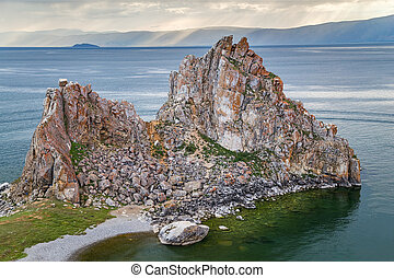 Shaman Rock, Lake Baikal in  Russia
