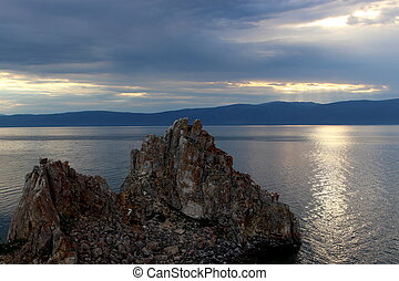 Shaman Rock on Baikal lake - Dusk landscape with Shaman Rock...