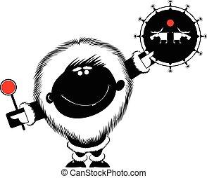Shaman - Smiling man beats the tambourine