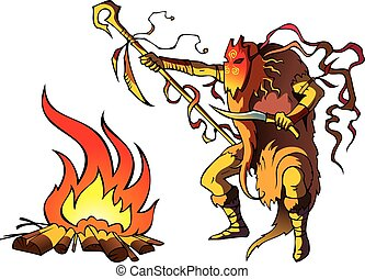 Shaman - Tribal priest (shaman) conjuring above fire to...