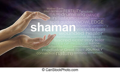 Shaman word cloud and healing hands