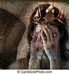 Shamanic angel martyr hiding face with stigmata on the hands. Photo base illustration.