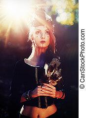shamanic, plumes, denim., femme, chaman
