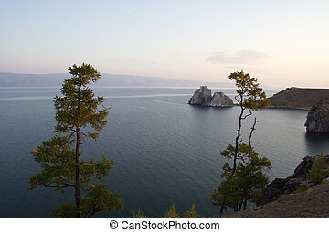 Shamanka-Rock on Olkhon island in Baikal lake, Russia