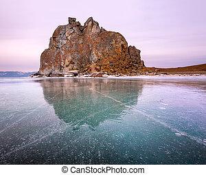 Shamanka Sacred Rock on Olkhon Island, Baikal Lake, Russia