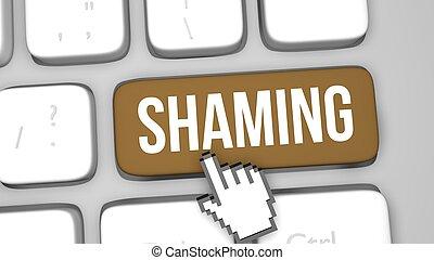 shaming, begriff, schlüssel, tastatur