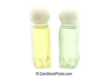 Shampoo and conditioner for hair on a white background