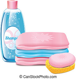 shampoo, baddoek, zeep