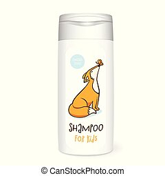 Shampoo bottle, white mockup with fox, 3D design concept for...