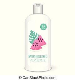 Shampoo bottle, white - Shampoo bottle with watermelon,...