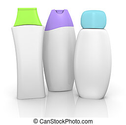 three bottles of shampoo with blank space for customization (3d render)