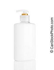 shampoo, branca, recipiente, sabonetes, mão