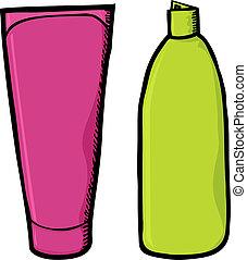 shampoo, contenitori, vuoto