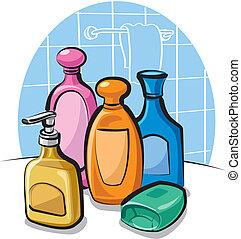 shampoo, e, sabonetes