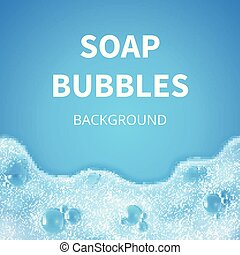 Shampoo foam with bubbles. Soap sud vector background