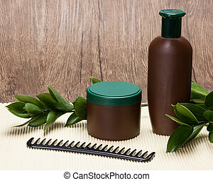 Natural hair care cosmetics with copy space