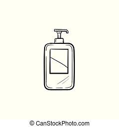 Shampoo hand drawn sketch icon.