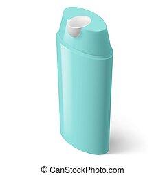 Shampoo Icon - Single Aquamarin Isometric Bottle of Shampoo...