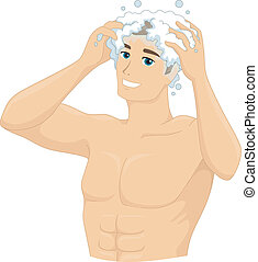 Shampoo Man - Illustration of a Man Shampooing His Head