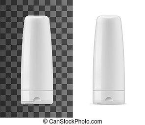 Shampoo or balm bottles isolated vector mockup. White ...