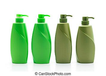 shampoo, ou, condicionador cabelo, garrafa, branco, fundo