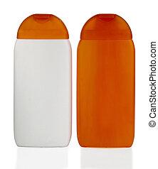 Shampoo - bottles of shampoo to shower isolated on white...