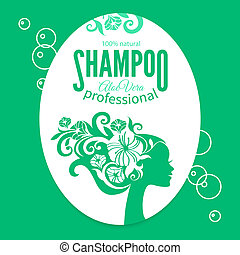 Shampoo women label. Design template with girl silhouette....