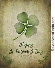 St Patrick's day greeting, with grafitti style shamrock over old grunge background.
