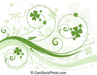 Abstract floral design with shamrock