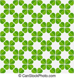 Shamrock clover leaves lucky green seamless pattern.