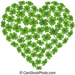 shamrock, coração