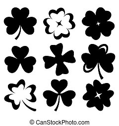 Shamrock black silhouette leaves isolated on white. Vector.