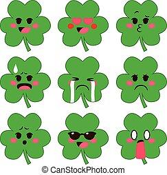 shamrock, expressões, emoji